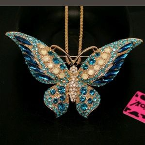 New Betesy Johnson blue butterfly necklace